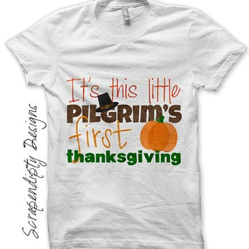 First Thanksgiving Iron on Transfer - Iron on Baby Shirt / Baby 1st Thanksgiving Outfit / Boys Kids Clothing / Pilgrim Girls Clothes IT318-C