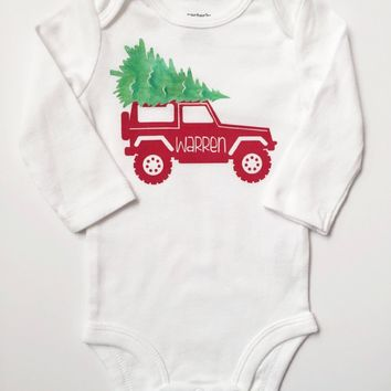Baby Bodysuit Custom Christmas Jeep