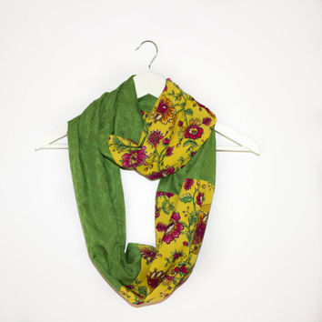 Yellow Green Scarf, Floral Cotton Scarf, Green Circle Scarf, Spring Circle Scarf, Spring and Summer, Floral Pattern