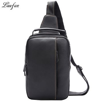 New Soft Genuine Leather Men Chest Pack Vintage Cowhide Summer Crossbody Bag For Travel Sling Big Capacity Shoulder Bags