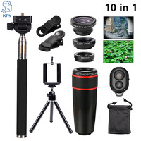 KRY 10in1 Phone Camera Lentes Fish Eye Fisheye Lens for elephone s7 iPhone 5s 6 6s 7 8x Telephoto Lenses Wide Angle Macro Lens