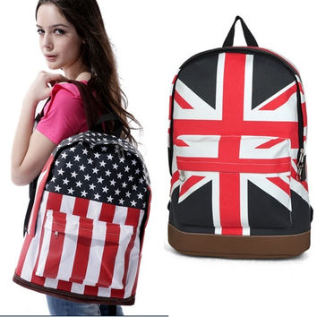 Unisex Flag Partern Campus Backpack Canvas Shoulder Bag School Bookbag  7_S = 1905759428
