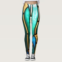 Green and yellow stained glass pattern leggings