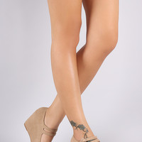 Bamboo Nubuck Double Mary Jane Strap Platform Wedge