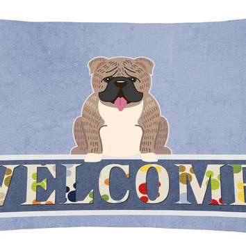 English Bulldog Grey Brindle  Welcome Canvas Fabric Decorative Pillow BB5707PW1216