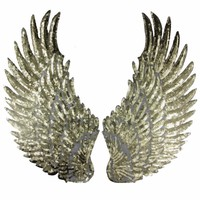 1 Pair Sliver Gold Sequins patch DIY Wings patches Appliques for clothes Sew-on embroidered patch