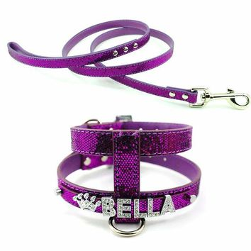 5 Colors Pet Name Harness Jewellery PU Leather Dog Personalized Harness Lead Discrete Customized 10MM Letters
