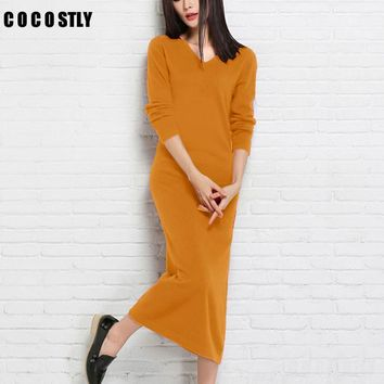 High Quality Winter/autumn Dress Women Cashmere Knitted Pullovers ladies Fashion Dresses Clothing Mid-Calf Sweaters long dress