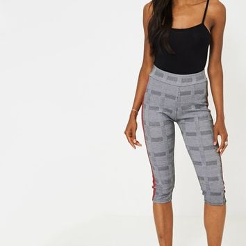 Dog Tooth Check Side Stripe Cropped Legging