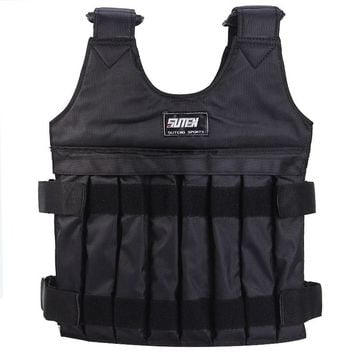 20kg Adjustable Fitness Weight Vest Training Body Workout Weight Vest Jacket Exercise Waistcoat Weighted Vest