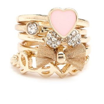Mesh Bow Stackable Rings: Charlotte Russe