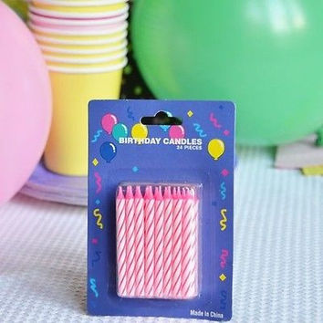 """48 Pink Candy Striped Birthday Candles 2"""" Candle Stick Pink White Cake Topper"""