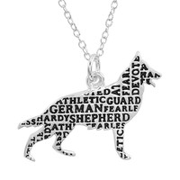 Silver-Plated ''German Shepherd'' Pendant Necklace (Grey)