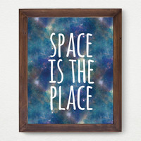Space is the Place, Space Gold Faux Foil Matte Art Print, Gold Office Quote Decor - Minimalist Art, Room Decor, Great Gift Idea