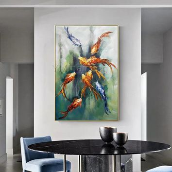 Original Gold Fishes Painting Abstract Animal acrylic painting Canvas art Palette knife painting Wall Pictures Home Decor cuadros abstractos