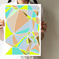 "Abstract art print - Mosaic collection - A3 print - Geometric print 11""x16"" - Neon pastel"