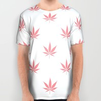 Peachy Cannabis Pot Leaf Pattern All Over Print Shirt by RexLambo