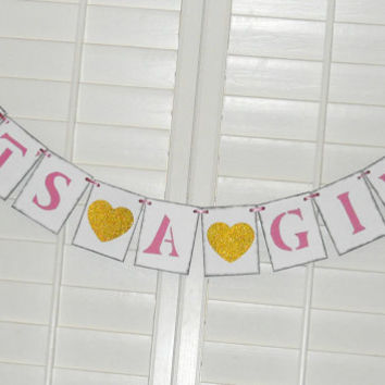 It's A Girl Baby Shower Banner Pink and Glittery Gold Baby Shower Decoration Shower Decor Baby Shower Banner Photo Prop