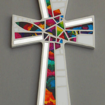 "Mosaic Wall Cross, Large, White with Hand Painted Rainbow Glass + Silver Mirror, Handmade Stained Glass Mosaic Cross Wall Decor, 15"" x 10"""