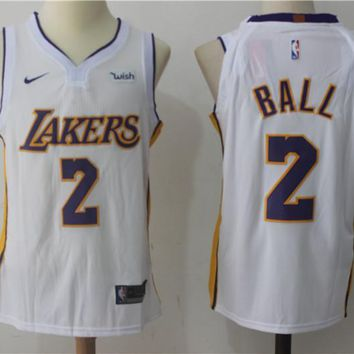 NBA Authentic Basketball Player Jerseys Los Angeles Lakers # 2 Lonzo Ball White