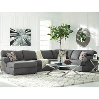 Signature Design by Ashley Jayceon 3-Piece Right Side Facing Sofa Sectional in Steel Fabric [FSD-6499SEC-3RAFS-STL-GG]