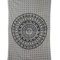 Tapestry Twin Black and White Hippie Elephant Mandala Tapestry Indian Traditional Beach Throw Wall Art College Dorm Bohemian Wall Hanging Boho Twin Bedspread Tapestries (Black &White)