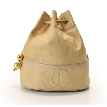 Authentic Chanel Drawstring Women,Girls Leather Shoulder Bag Bei 800000061742000