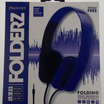 Sentry Folderz Folding Stereo Headphones Blue DLX20 Tangle Free Flat Cord 3.5 mm