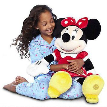 "Licensed cool JUMBO 27"" Minnie Mouse Plush Deluxe HUGE Girls Doll Disney Store Red Polka Dot"