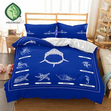 HELENGILI 3D Bedding Set Ship's anchor Print Duvet cover set lifelike bedclothes with pillowcase bed set home Textiles #2-05