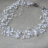 White Necklace. Beaded Wedding Necklace. Multistrand Necklace Beadwork