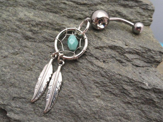 Turquoise Dream Catcher Belly Button Jewelry by MidnightsMojo