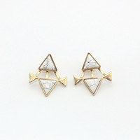 Minimalist Gold Plated Ear Jacket Earrings With Triangle Stone by Fashnin.com