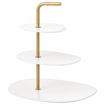 FÖRÄDLA Serving stand, 3 tiers - white, brass - IKEA