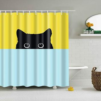 Colorful Eco-Friendly Cat Polyester High Quality Shower Curtain With Hooks