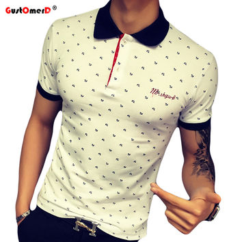 US size S-XXL 2016 New Summer Men'S Floral Shirt  Polo Shirt  Fashion Slim Fit  Short-Sleeved Polo Shirt  Men Polo Shirt