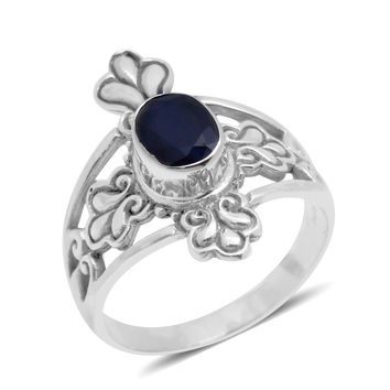 Imperial Life Ring, Artisan Crafted Thai Blue Star Sapphire