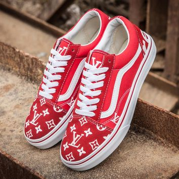 Trendsetter Vans x LV Old Skool Canvas Print Flats Sneakers Sport Shoes
