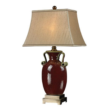 Dimond D2405 Aldell Rosebury Red and Antique Brass One Light Table Lamp