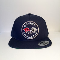 Corvette logo navy custom snapback hat