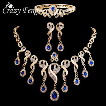 Vintage Sapphire Jewelry For Women 18K Gold Plated Statement Necklace+ Charm Bracelet+ Earring+ Ring Wedding Bridal Jewelry Set