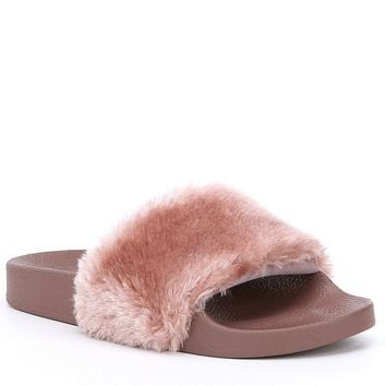 Steve Madden Softey Faux Fur Slide-On Sandals | Dillards