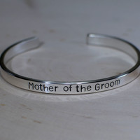 Sterling silver mother of the groom cuff bracelet