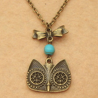 Owl Bowtie and Turquoise Necklace by turquoisecity on Etsy