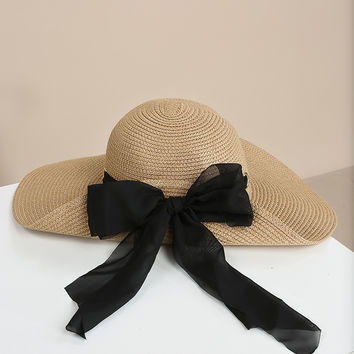 Chiffon Ribbon Straw Hat