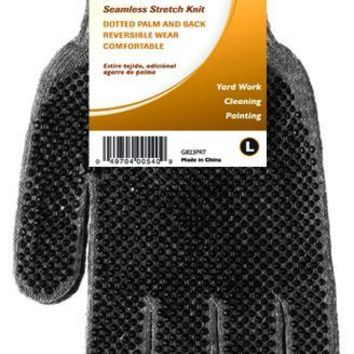 HandMaster® G823PRT3 Dotted Knit Cotton Blend Men's Utility Glove, Gray, Large