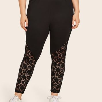 Plus Size Size Contrast Lace Solid Black Skinny Leggings
