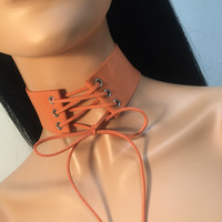 Tie Up Lace Up Suede Choker - Orange