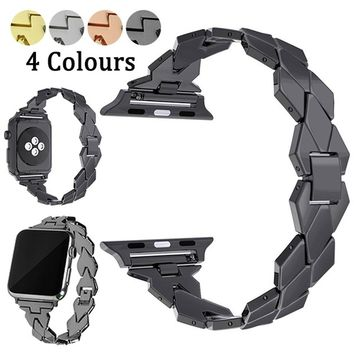 Rhombus Design Bands Replacement IWatch Stainless Steel Accessory Straps for Apple Watch Series 1/2/3 38mm 42mm