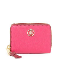 Robinson Pebbled Zip Coin Case, Cardinal Red/Cabernet - Tory Burch - Carn red/Cabernet